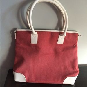 Vintage Red Canvas Tote White Leather Trim O/S